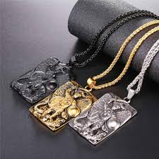 stainless steel big square michael archangel pendant necklace religious jewelry for men gift
