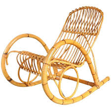 italian rattan rocking chair 1950s