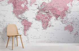 pink and white world map maps room wall