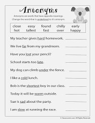 Antonyms Worksheets 5th Grade – dailypoll.co