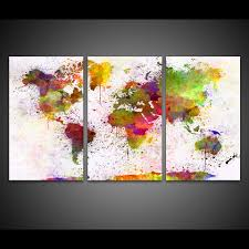 home decor hd prints canvas living room abstract pictures 3 pieces color world map paintings wall art modular posters framework in painting calligraphy