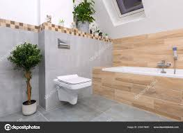 Modernes Badezimmer Interieur Mit Grauen Fliesen Und Holz Dekore