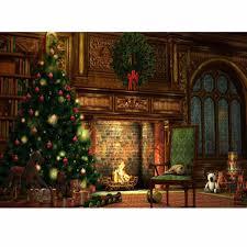 5x7ft fireplace tree vinyl background backdrop