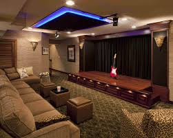 Exposed Stone Wall Basement Home Theater Ideas Simple Wall - Interior design for home theatre