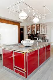 Cool Kitchen Island Ideas With Red Island And Stainless Steel Countertops  Plus Hanging Pot Rack And