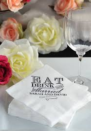 custom personalized napkins. guests will love these personalized napkins with a classic eat drink and be married custom