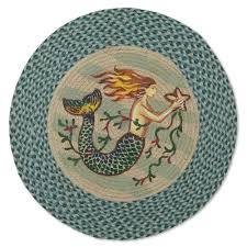 mermaid round jute braided rug