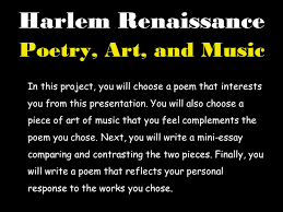 harlem renaissance project  background  poetry art music  10 harlem renaissance