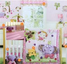 cute nursery bedding girl happy monkey and elephant cute baby crib bedding set cot crib bedding