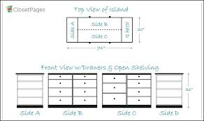 walk in closet island size for