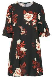 Rock Paper Flower Tunics Black Floral Shift Tunic Dress Yours Clothing