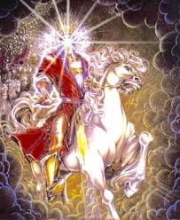 Image result for heaven opens up a rider on a white horse appears