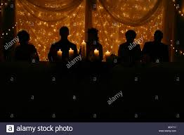 Fairy Lights Silhouette Silhouette Of Bridal Table Against Fairy Lights Stock Photo