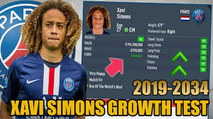 XAVI SIMONS GROWTH TEST (2019-2034) - FIFA 20 Career Mode - YouTube