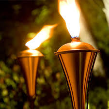 outdoor torch lighting. define your outdoor space with dramatic eyelevel lights like this striking copper torch you canu0027t miss them lighting