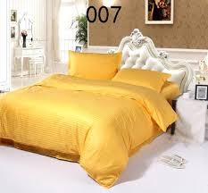 um image for yellow cotton satin stripe 4pcs bedding sets home bedclothes set bed linens duvet