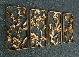 4 syroco wood wall plaques gold four