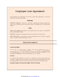 Company Loan To Employee Agreement Employee Loan Agreement 2 Pdfsimpli