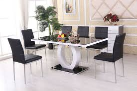 Dining Room Small Table And 4 Chairs Round Black Glass White Le