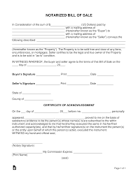 Free As Is Bill Of Sale Free Notarized Bill Of Sale Form Word Pdf Eforms