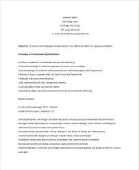 Furniture Store Manager Resume