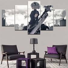 <b>Wall Art</b> Decor <b>Modular Framework</b> 5 Pieces Game NieR Automata ...