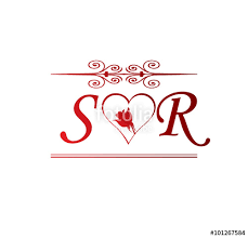 sr love initial with red heart and rose