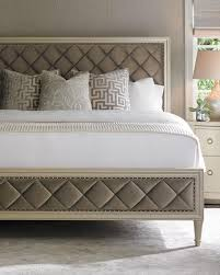 Tan Diamond Tufted Bed