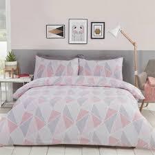 leo geometric pink grey single duvet