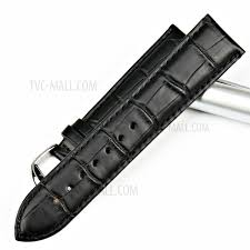universal bamboo joint calfskin leather watch strap band black width 22mm 1