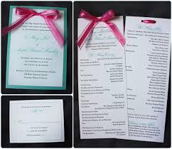 lagoon turquoise & white wedding invitations with hot pink bow Ribbon On Wedding Invitation Ribbon On Wedding Invitation #33 tying a ribbon on a wedding invitation