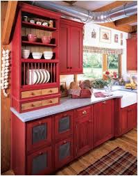 Yellow And Red Kitchen Kitchen Red Storage Units Red Kitchen Cabinets Black Countertops