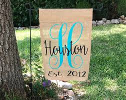 burlap garden flag. Burlap Garden Flag / Yard Flags Housewarming Gift Wedding Monogram Sign N