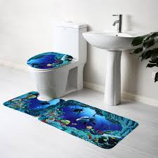 blue bathroom rug sets 3pcs blue ocean bath rugs set velvet fabric pedestal mat toilet set