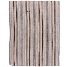 striped cotton and wool anatolian kilim flat woven rug for