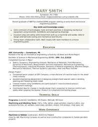 Template Sample Resume For An Entry Level Mechanical Engineer Monste