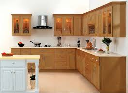 Elegant Kitchen Design With L Shape Cherry Kitchen Cabinet And White