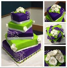 Purple and green wedding colors Lilac Lime Green And Purple Wedding Cake Tulle Chantilly Square Wedding Cakes Purple And Lime Photo Lime Green And Purple