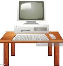 computer desk clipart.  Computer Ordinateur Portable Sur La Table  Clipart Vectoriel Throughout Computer Desk M