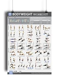 amazon bodyweight exercise poster total body fitness laminated home gym workout poster bodyweight exercises tone your legs arms abs core