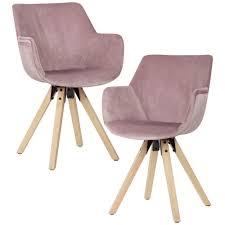 Wohnling Esszimmerstuhl 2er Set Rosa Schalenstuhl Küchenstuhl Samt Stuhl Modern