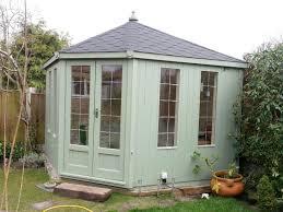 pale green corner summerhouse