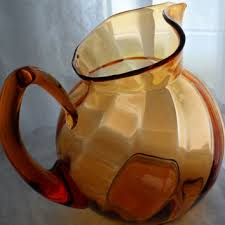 c1960s venetian amber glass water pitcher italian hand blown g