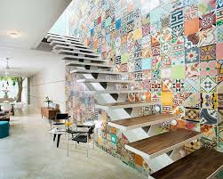 View in gallery Imaginative use of tiles to add color to the staircase wall