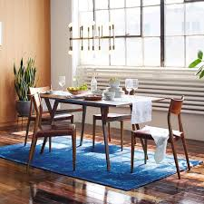 mid century modern dining table. Mid Century Wood Expandable Dining Room Tables For Narrow Spaces And Wooden Chairs With An Area Rug Modern Table B