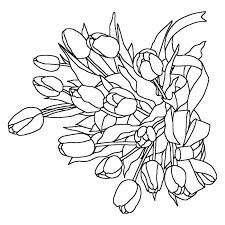 チューリップの花束白黒春の花無料イラスト素材