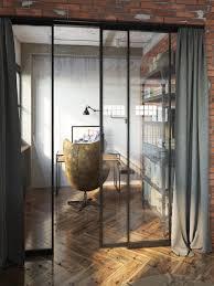 Loft Workspace With Glass Sliding Door