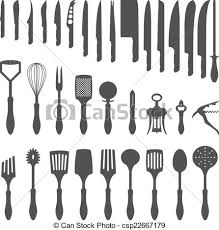 kitchen utensils silhouette vector free. Dinner Cutlery Silhouette Set - Csp22667179 Kitchen Utensils Vector Free