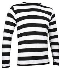 black and white striped rugby shirt