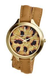 michael michael korswomen s slim runway cheetah wrap watch